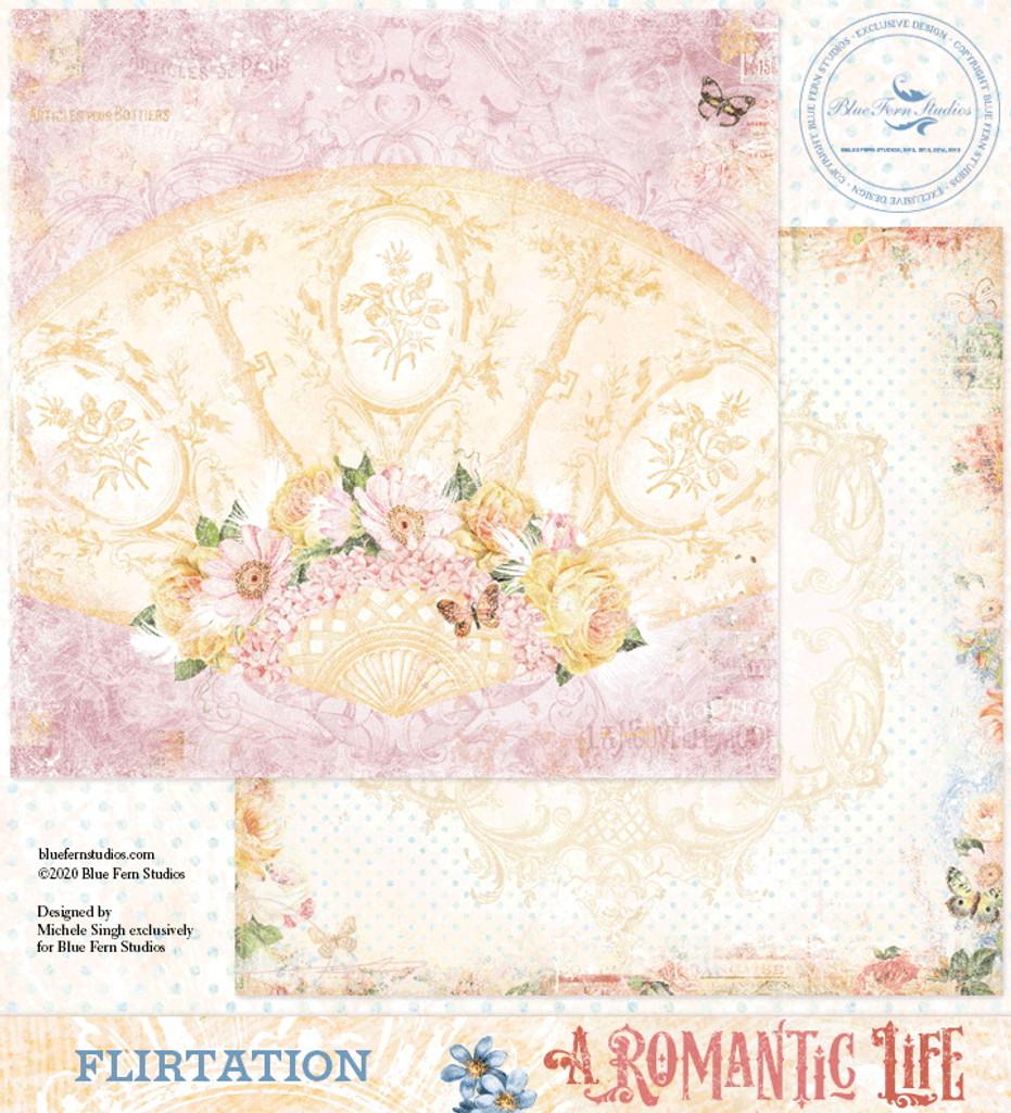 Blue Fern Studios - Double-Sided Paper 12x12- A Romantic Life - Flirtation (ARL- FL)