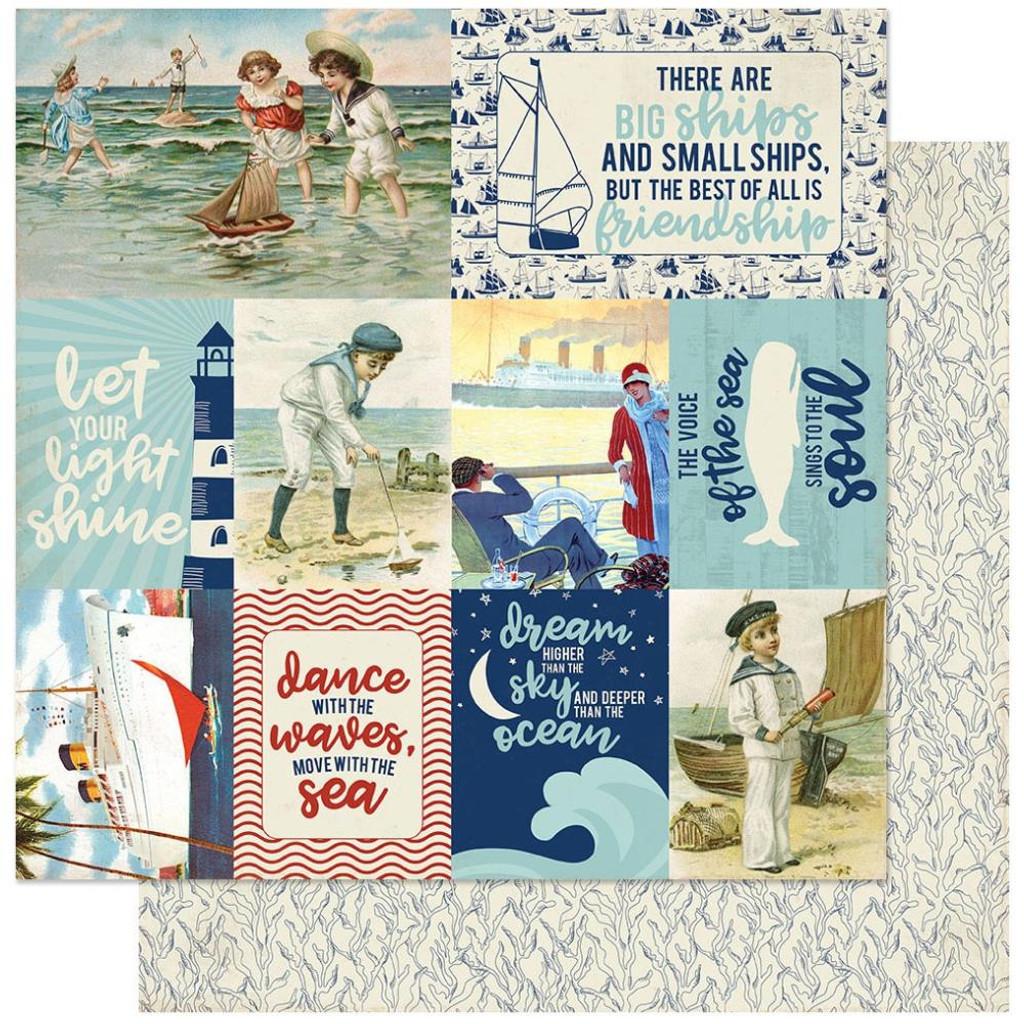 Authentique - Double-Sided Paper 12x12 - Voyage - #11 Image Cut Aparts ( VOY12 - 011)