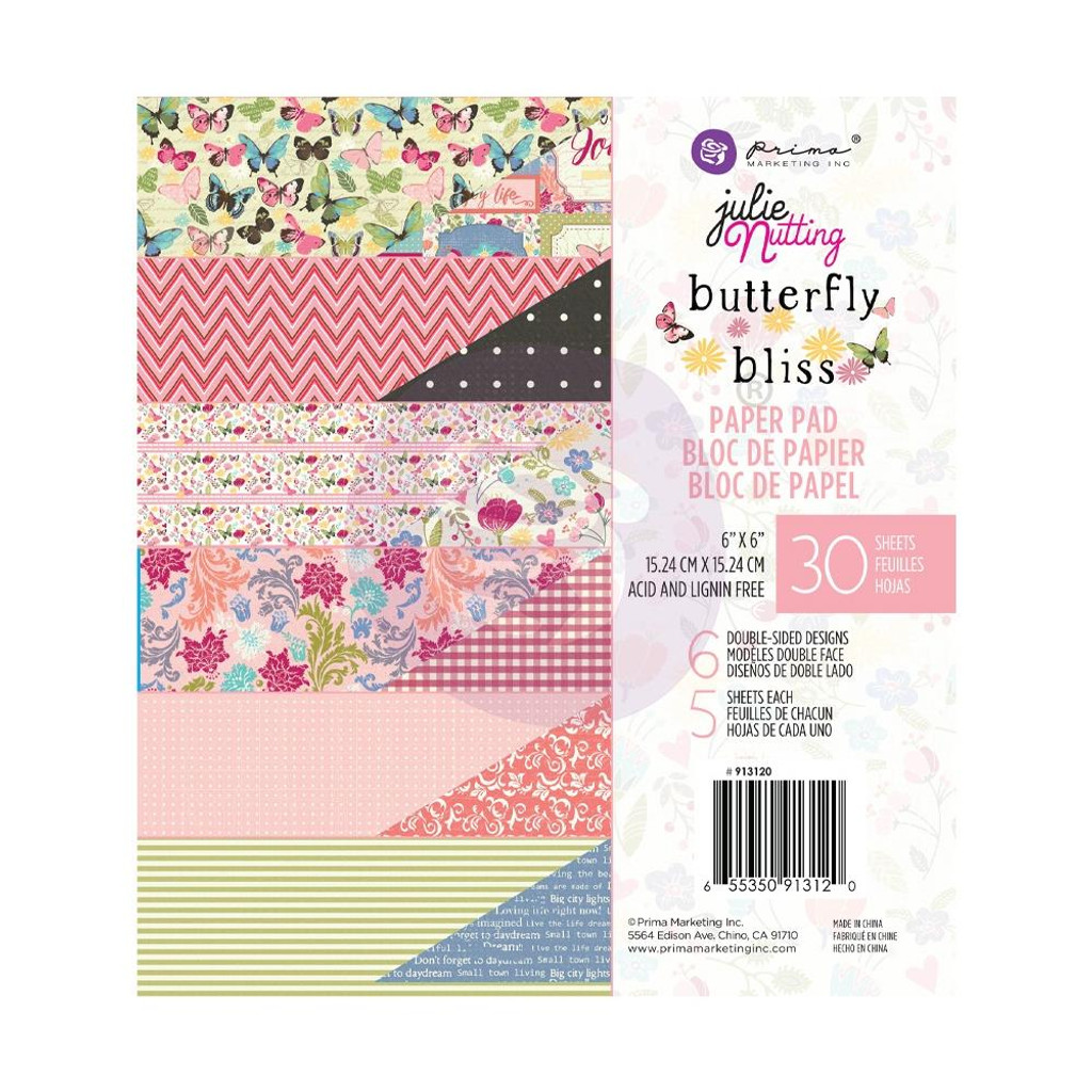 """Julie Nutting - Prima - Double-Sided Paper Pad 6""""X6"""" 30/Pkg - Butterfly Bliss - Hello Beautiful (913120)"""