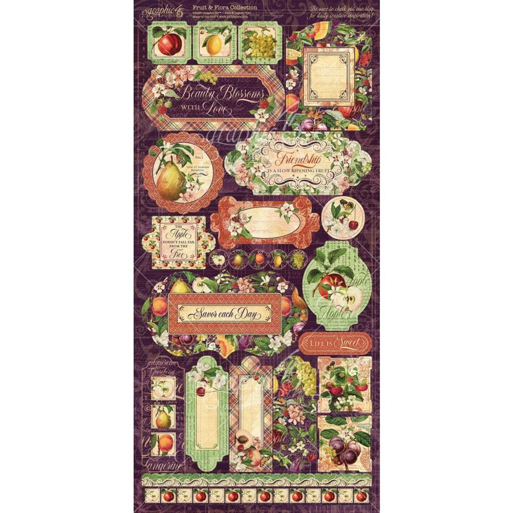Graphic 45 - Cardstock Stickers 2/Pkg 6x12 - Fruit & Flora (G4502003)
