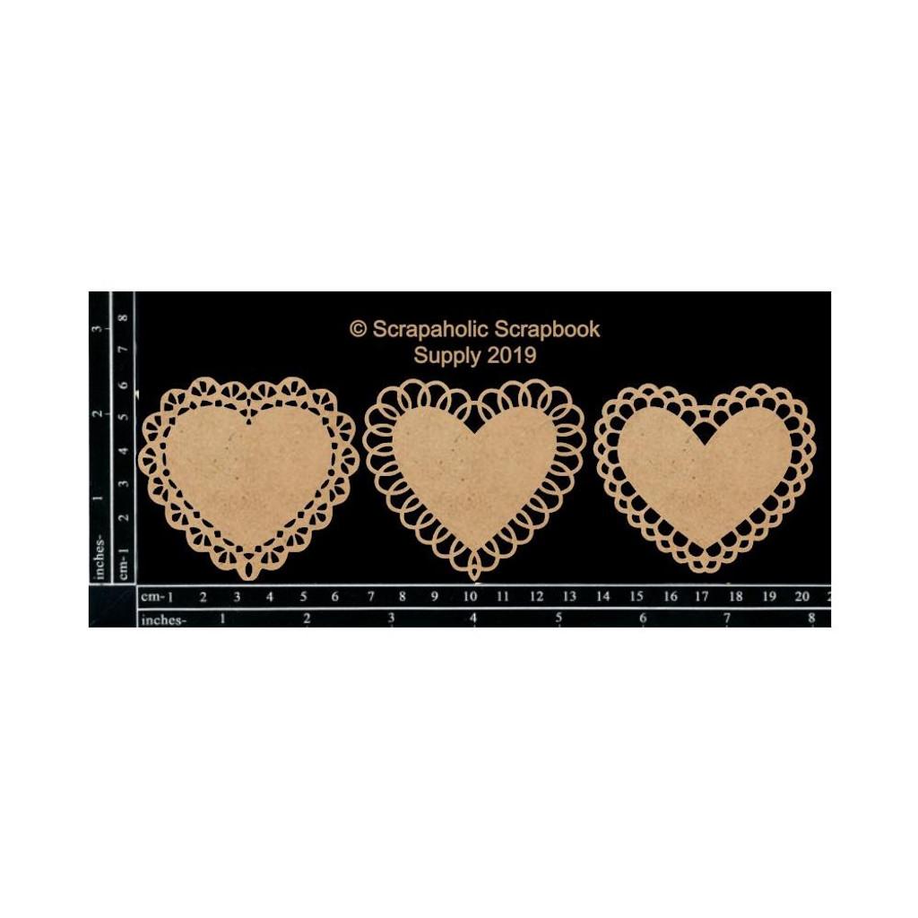 Scrapaholics - Laser Cut Chipboard - Mini Lace Hearts (S51722)