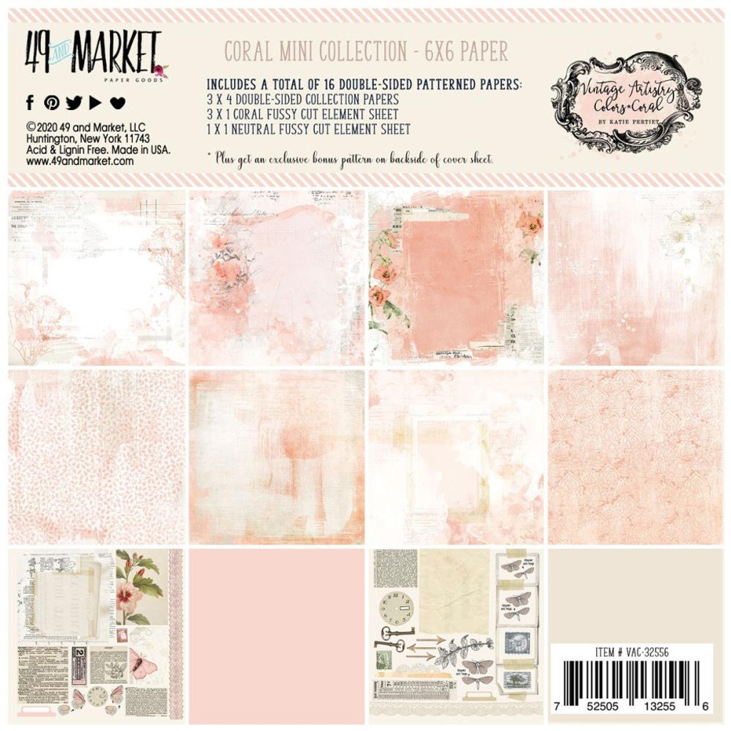 """49 and Market - Scrapbooking Paper Pack 6""""X6"""" - Vintage Artistry Coral Collection (VAC32556)"""