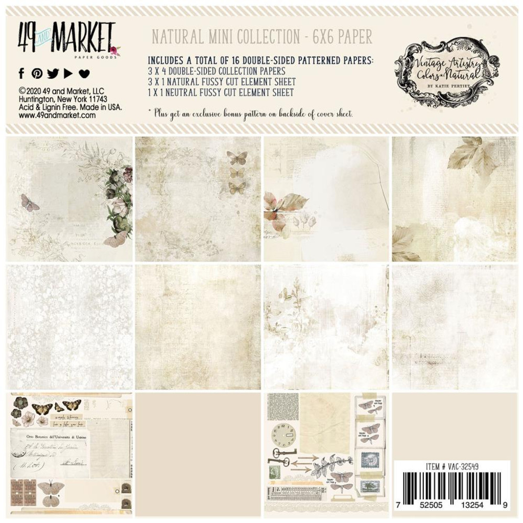"""49 and Market - Scrapbooking Paper Pack 6""""X6"""" - Vintage Artistry Natural Collection (VAC32549)"""