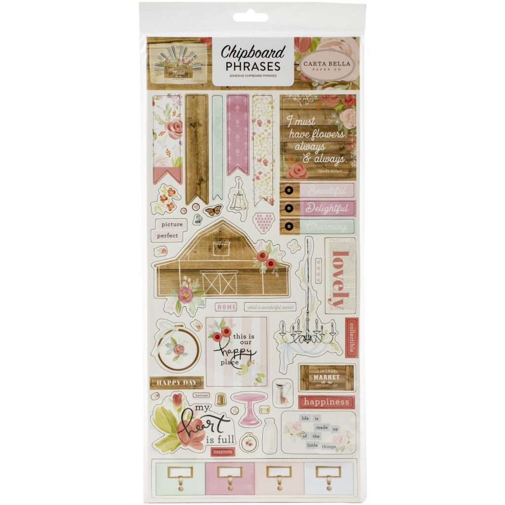 Carta Bella - Chipboard Phrases 12x13 - Farmhouse Market (AR113022)