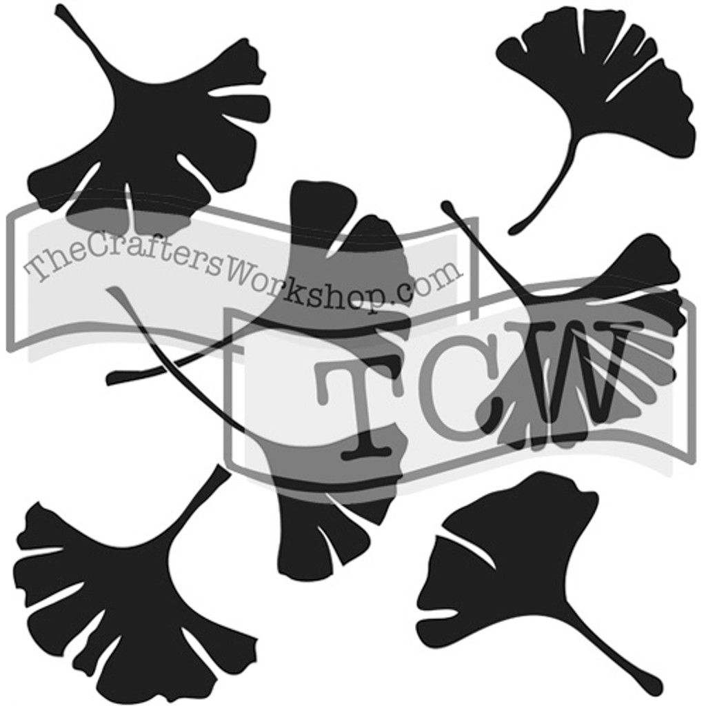 The Crafters Workshop - 6x6 Template Stencil - Mini Ginkgo Leaves (TCW 192s)