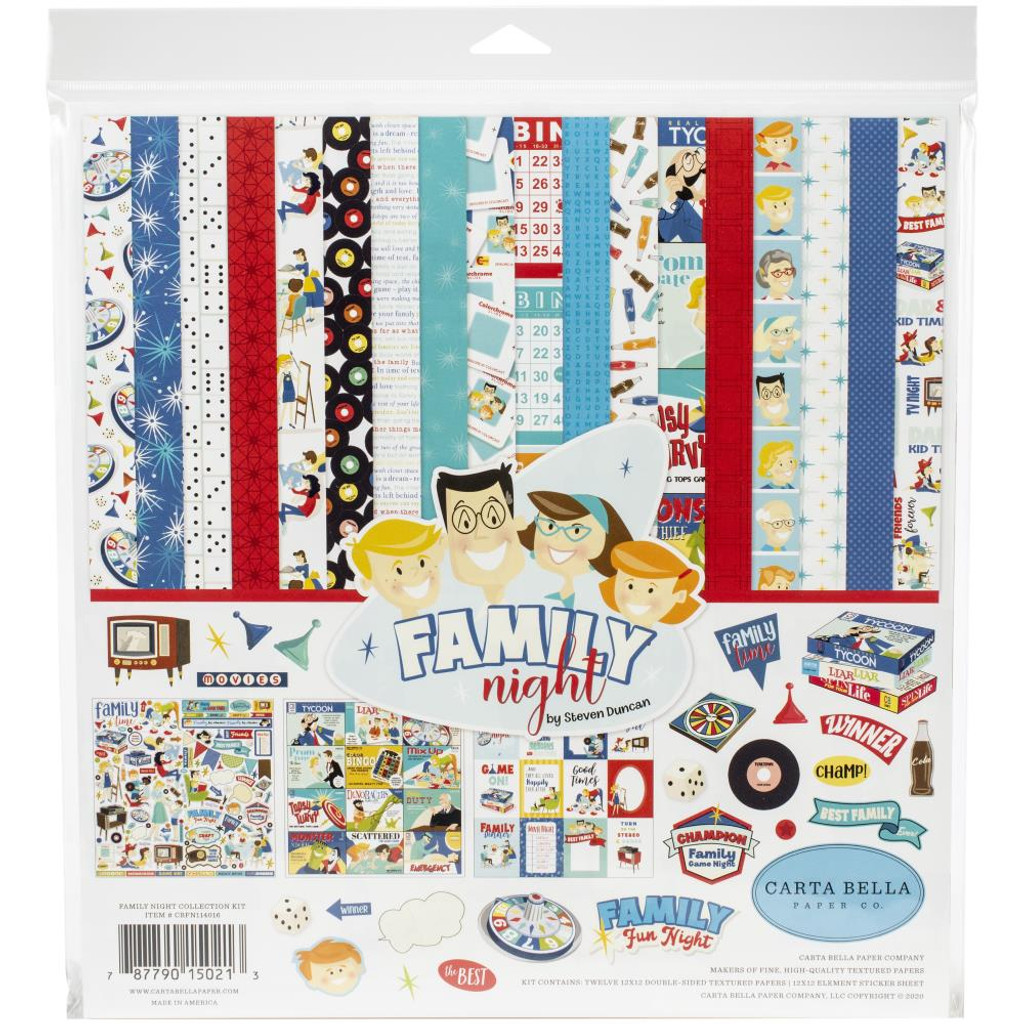 Carta Bella - Double Sided Cardstock Collection Kit 12 x 12 - Family Night (FN114016)