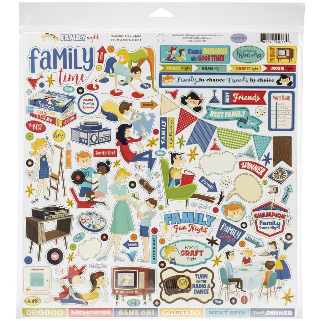 Carta Bella - Cardstock Element Sticker 12x12 - Family Night (FN114014)