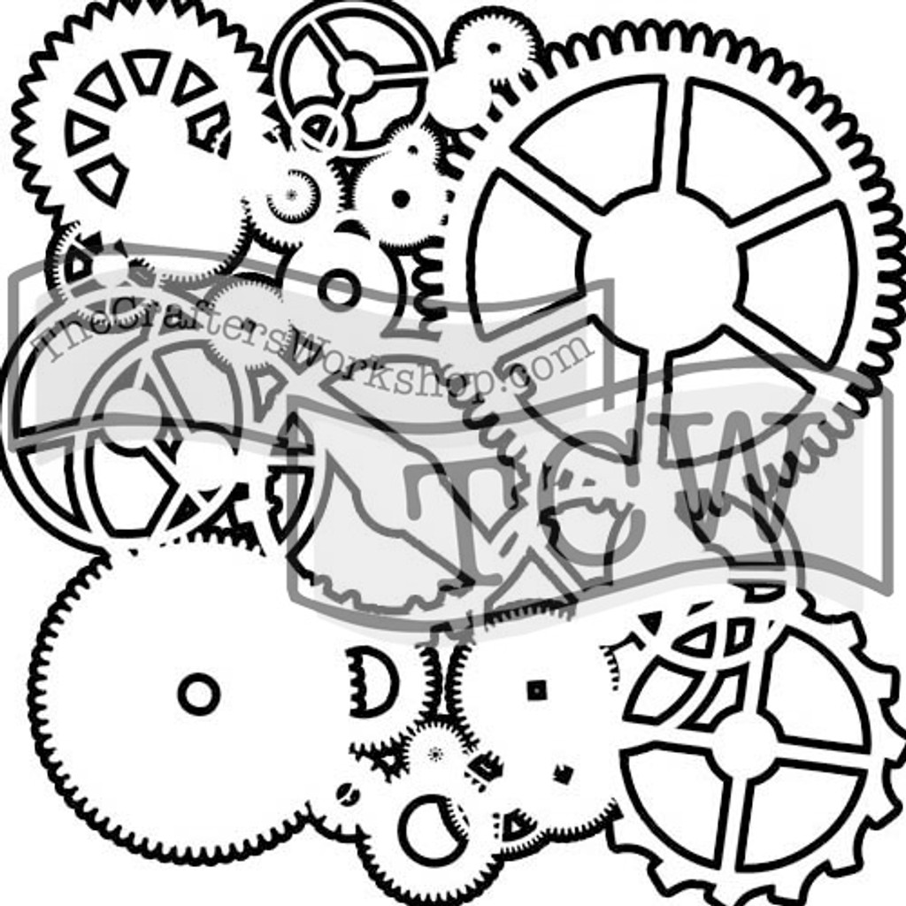 The Crafters Workshop - 6x6 Template Stencil - Mini Gears (TCW 262s)