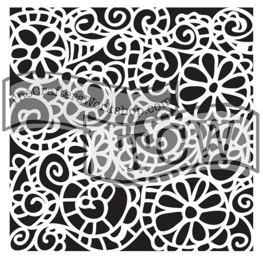 The Crafters Workshop - 6x6 Template Stencil - Mini Swirly Garden (TCW 325s)