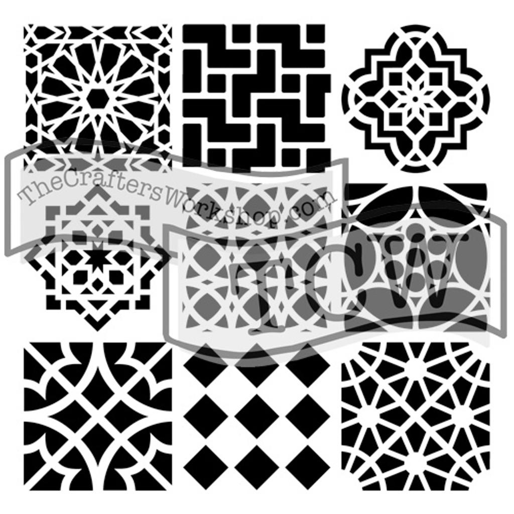 The Crafters Workshop - 6x6 Template Stencil - Mini Moroccan Tiles (TCW 385s)