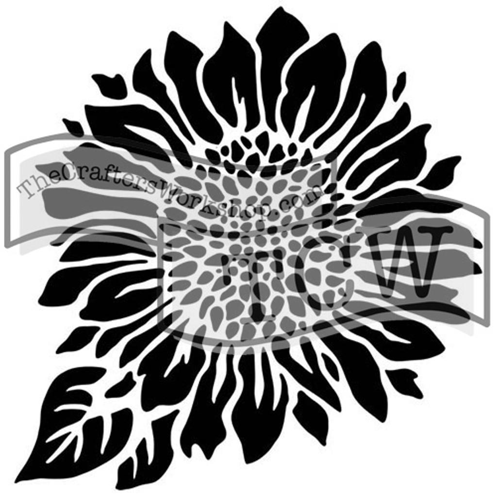 The Crafters Workshop - 6x6 Template Stencil - Mini Joyful Sunflower (TCW 575s)