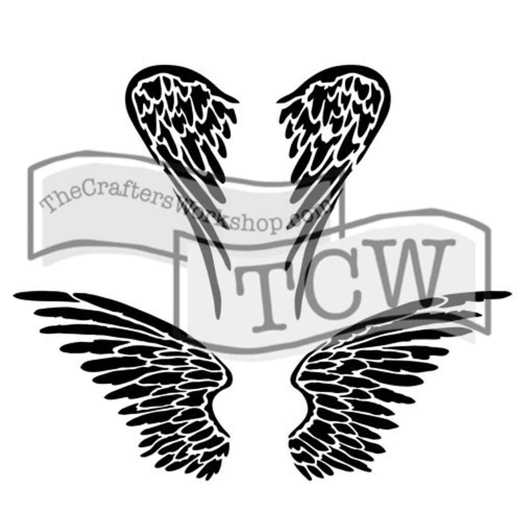 The Crafters Workshop - 6x6 Template Stencil - Mini Angel Wings (TCW 616s)
