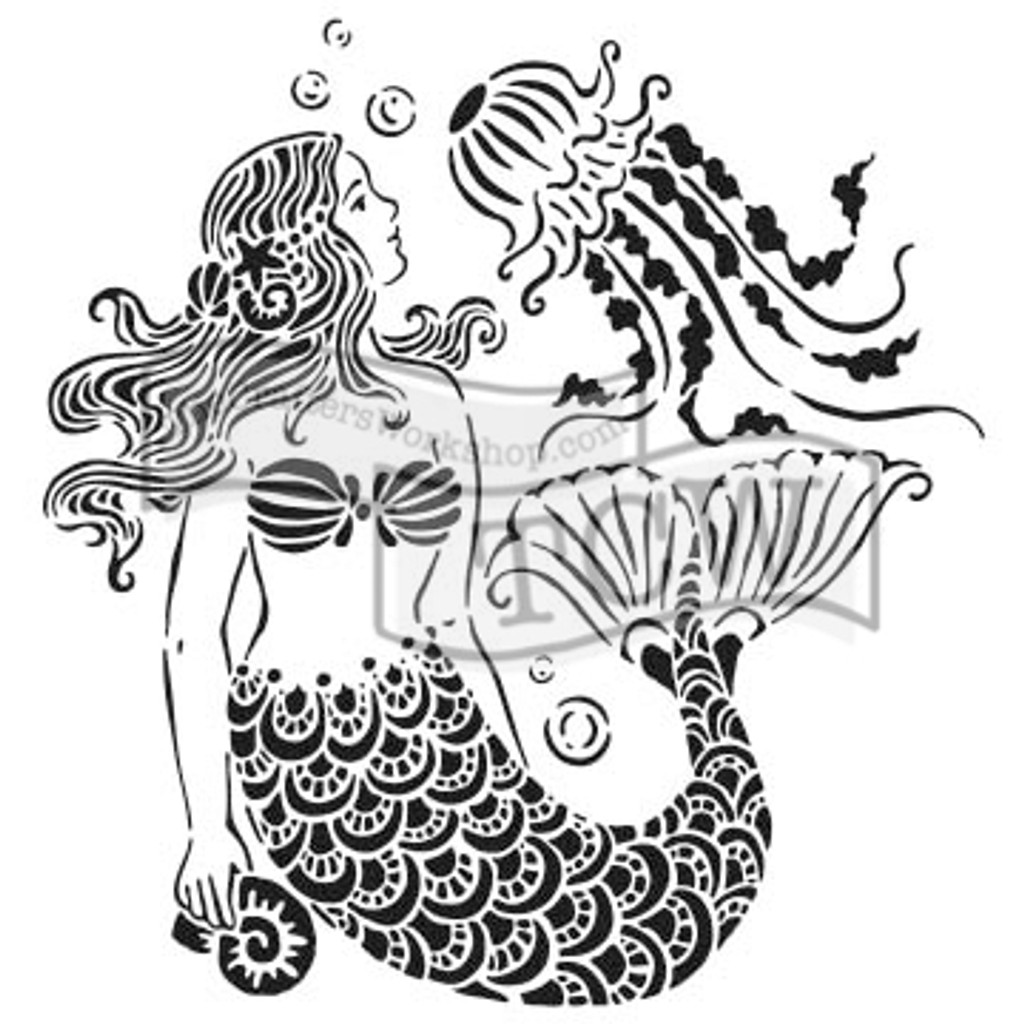 The Crafters Workshop - 6x6 Template Stencil - Mini Mermaid Dreams (TCW 783S)
