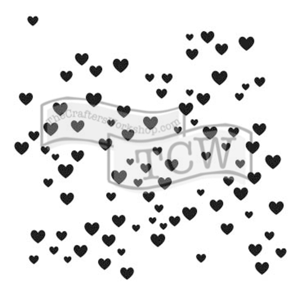 The Crafters Workshop - 6x6 Template Stencil - Micro Hearts (TCW 791s)