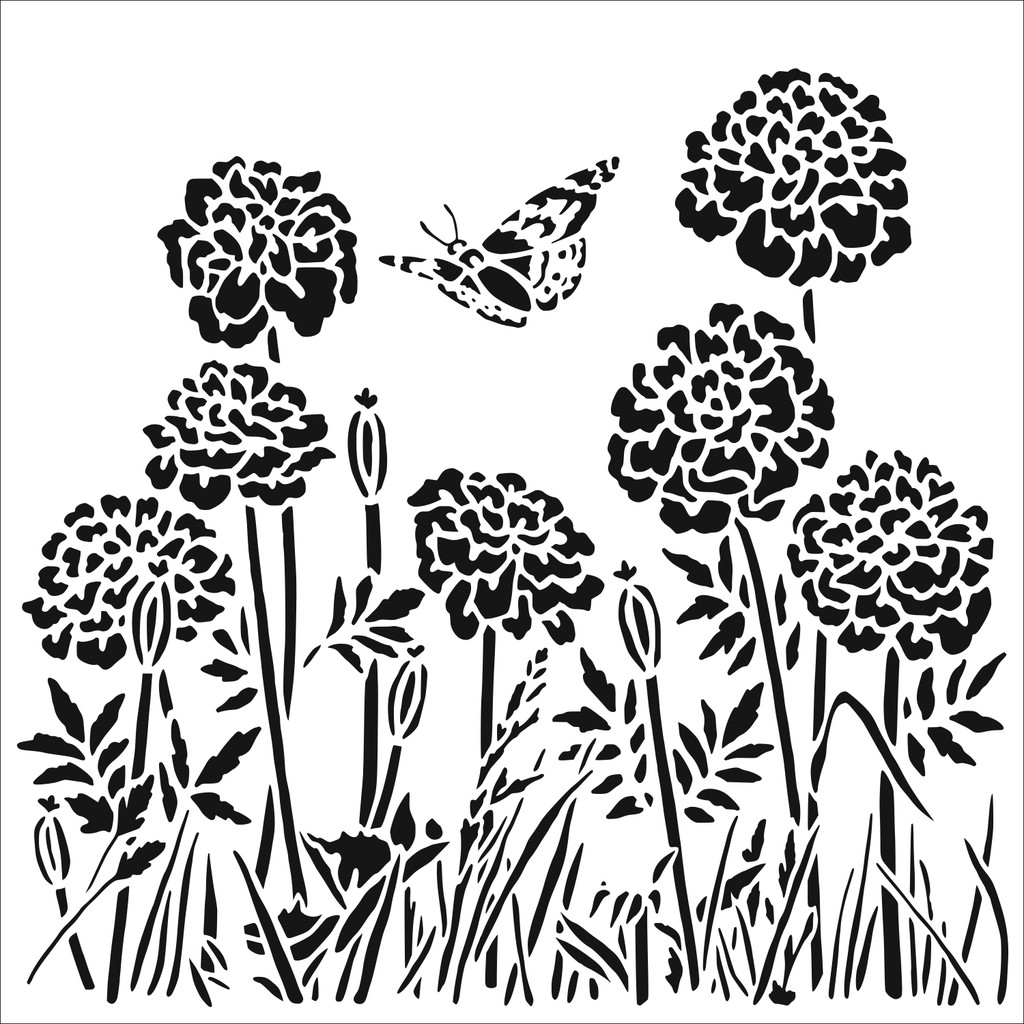 The Crafters Workshop - 6x6 Template Stencil - Happy Dandelions (TCW 861s)