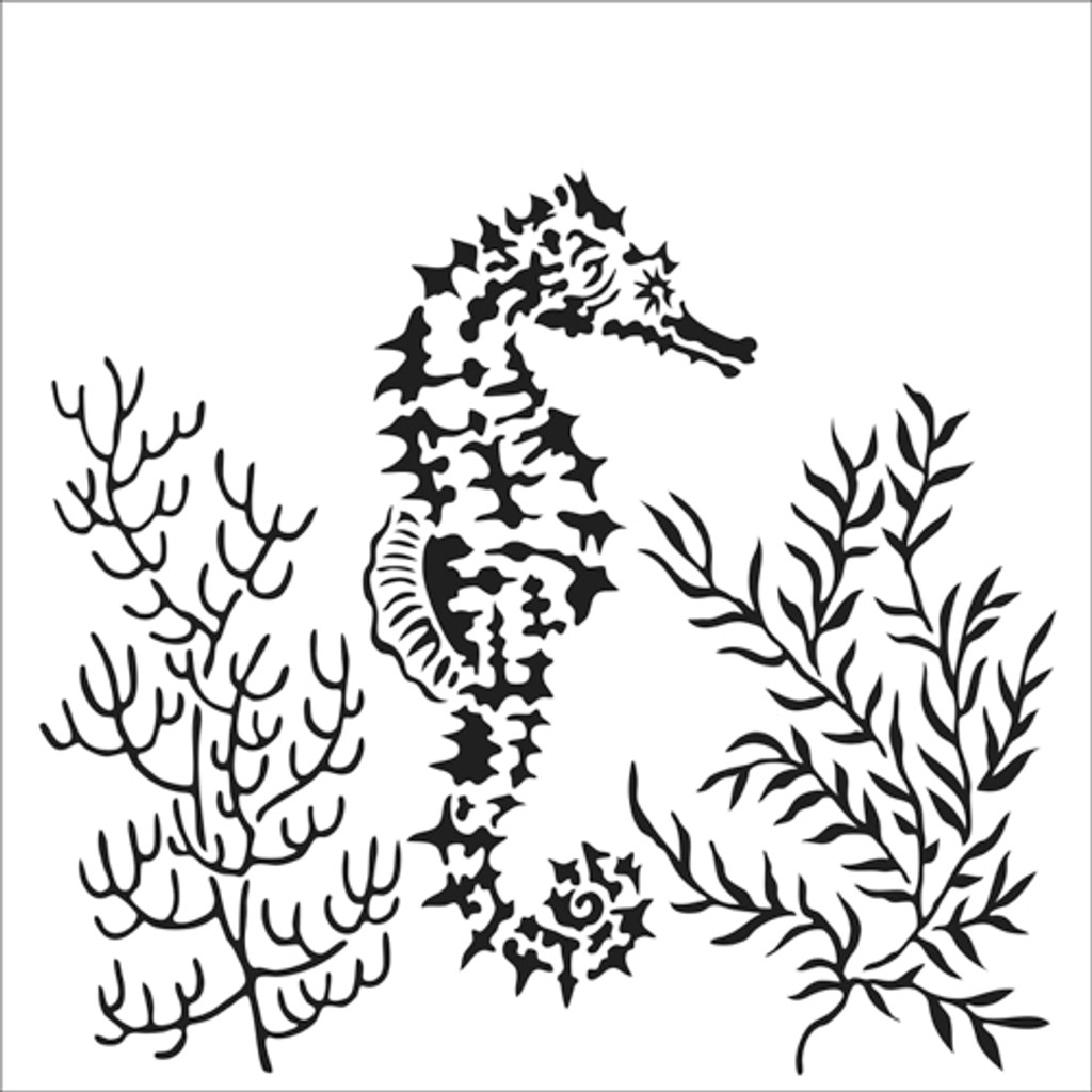 The Crafters Workshop - 12x12 Template Stencil - Seahorse (TCW918)