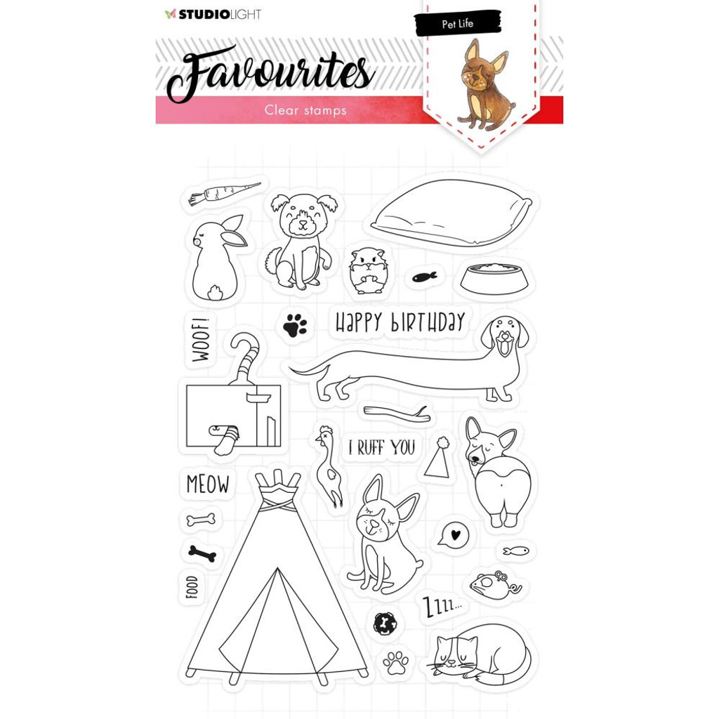 Studio Light - Favourites A5 Stamps - Cling Stamp - Pet Life #423