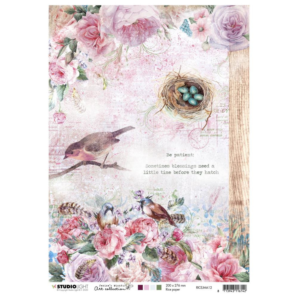 Studio Light Jenine's Mindful Art - Decoupage Rice Paper A4 - NR. 12 (RICEM12)
