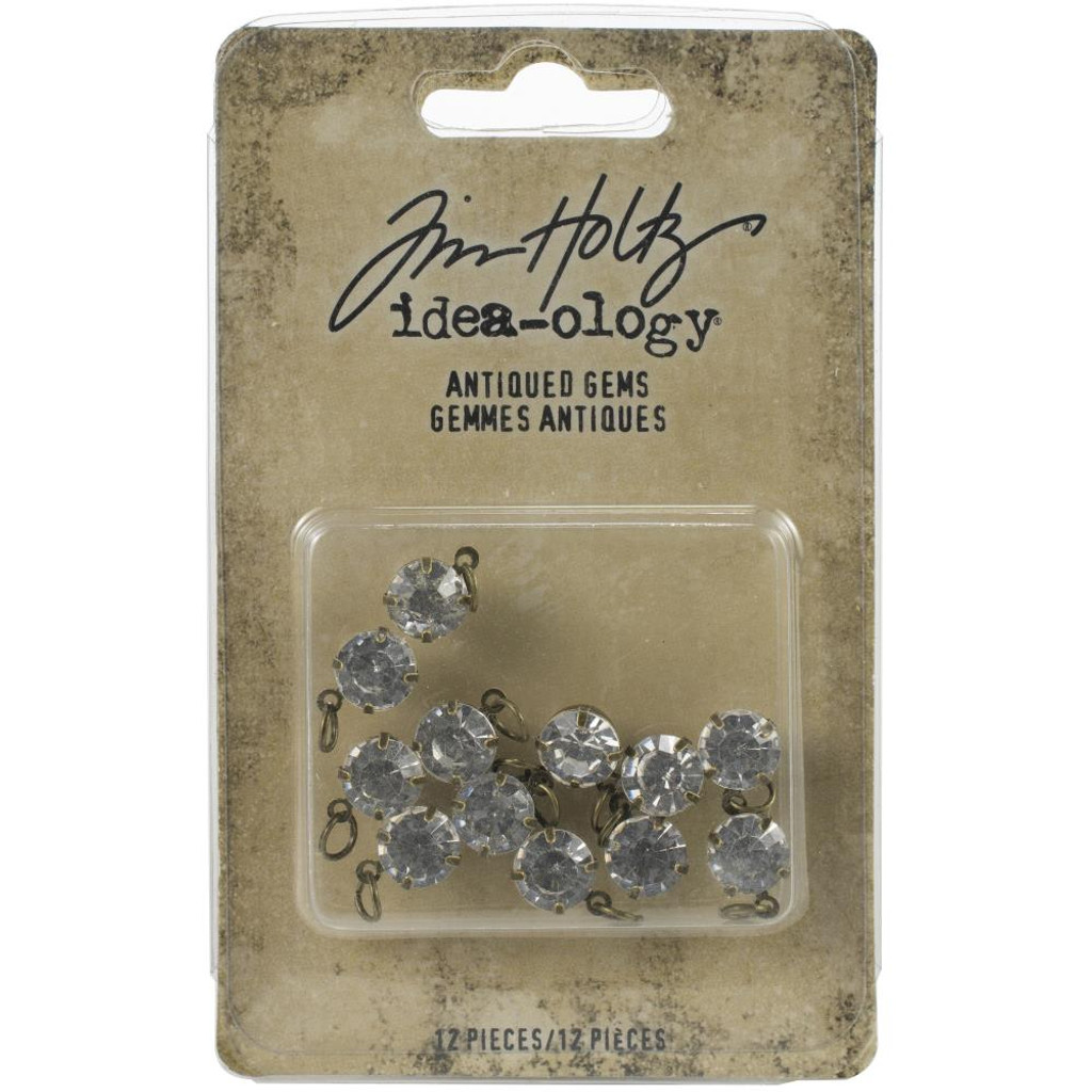 Tim Holtz Idea-Ology - Metal Adornments 12/Pkg - Antiqued Gems (TH94033)