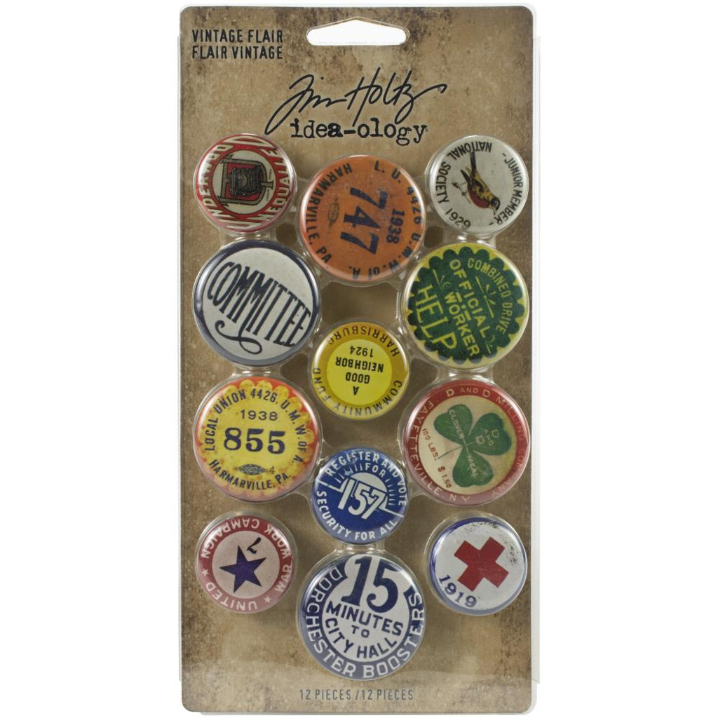 Tim Holtz - Idea-Ology - Metal Adornments 12/Pkg - Vintage Flair Buttons (TH94027)