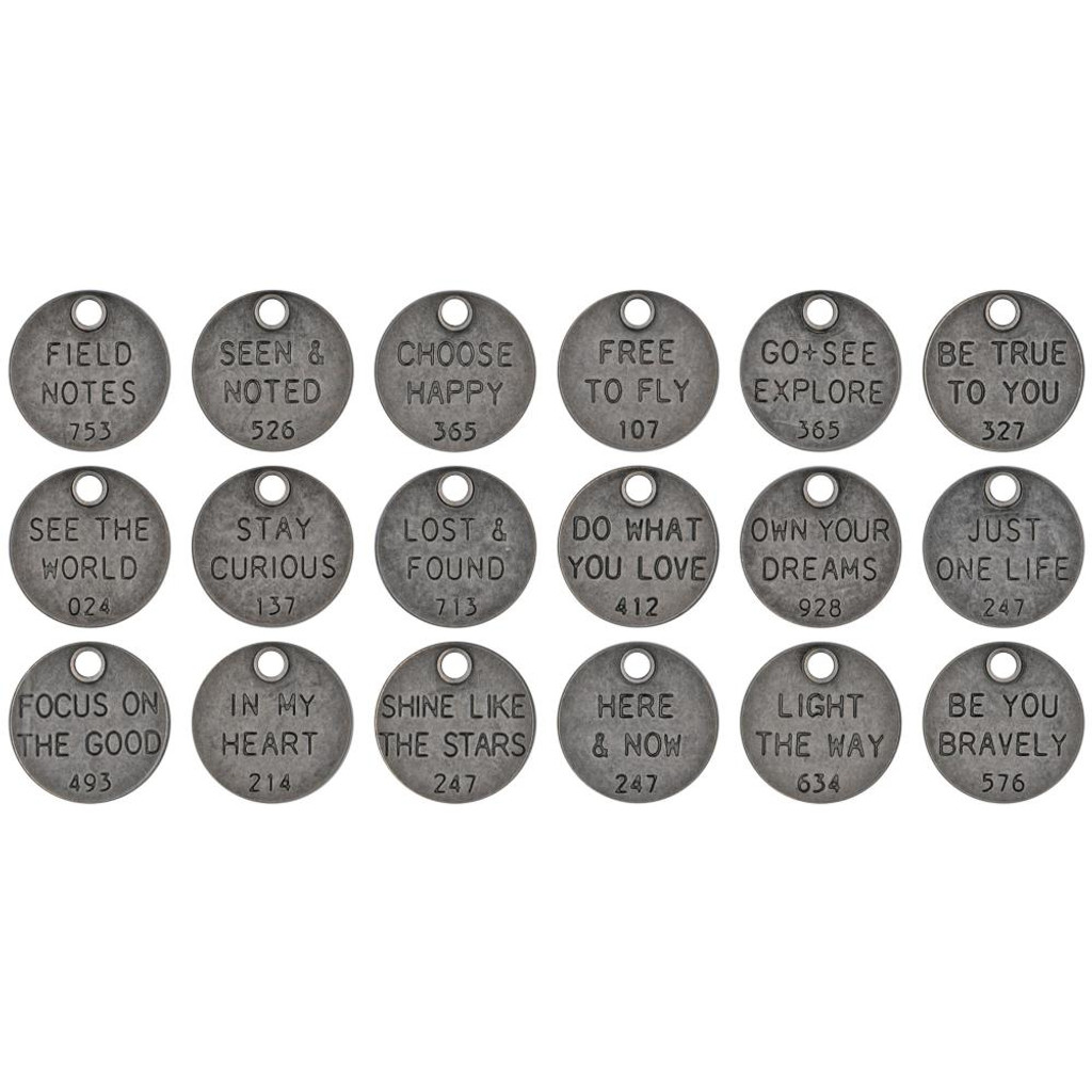 Tim Holtz - Idea-Ology - Metal Adornments 18/Pkg - Thought Tokens