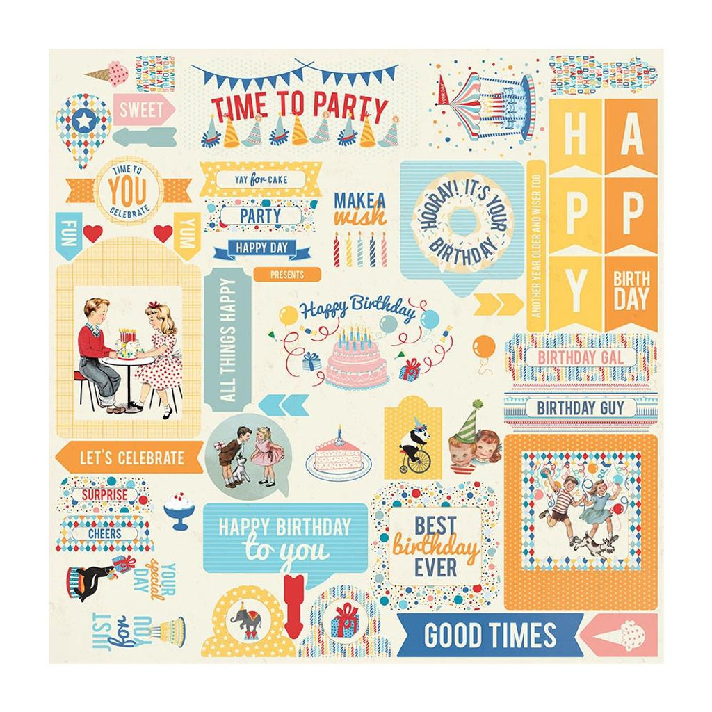 Authentique - Cardstock Element Sticker Sheet 12x12 - Hooray (HRY009)