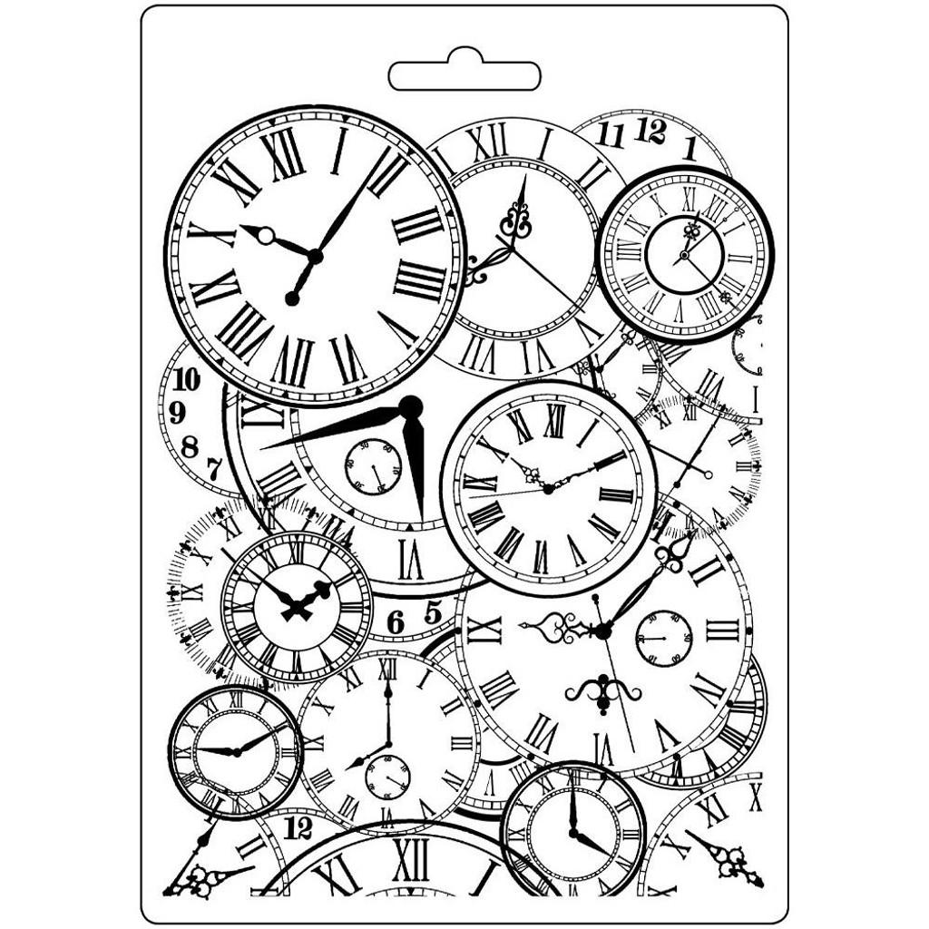 "Stamperia Soft Maxi Mould 5.75""X8.25"" - Clocks (K3PTA548)"