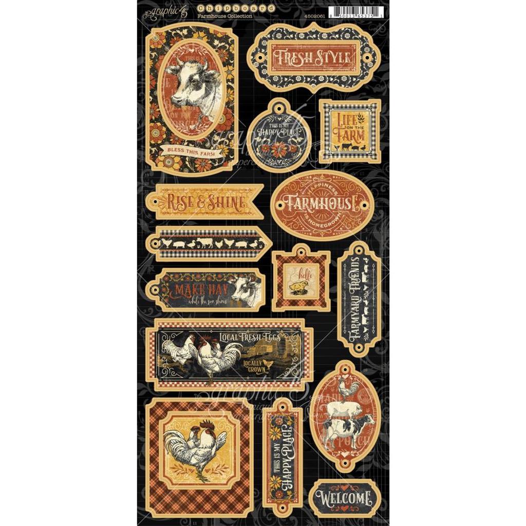Graphic 45 - Chipboard Die-Cuts 6x12 - Farmhouse (4502061)