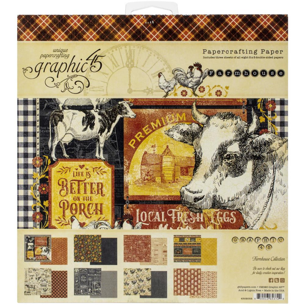 """Graphic 45 - Double-Sided Paper Pad 8""""X8"""" 24/Pkg - Farmhouse (G4502058)"""