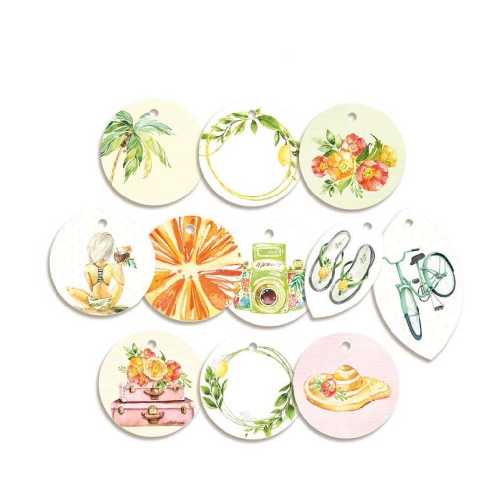 P13 - Decorative Embellishments 11 pc - Tag Set - Sunshine (P13-SUN-21)