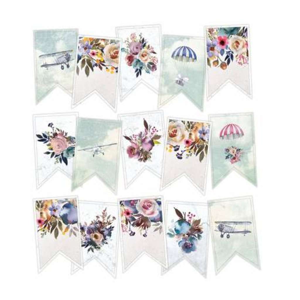 P13 - Decorative Embellishments 15 pc - Banner Die Cuts - When We First Met (P13-WWFM-32)