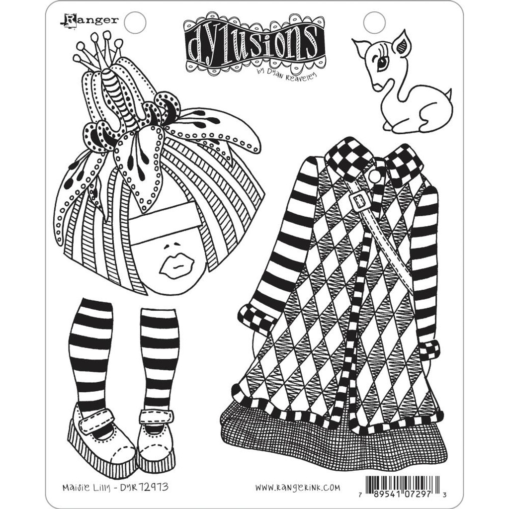 """Dyan Reaveley Dylusions Cling Stamp 8.5""""X7"""" - Maisie Lilly (DYR 72973)"""