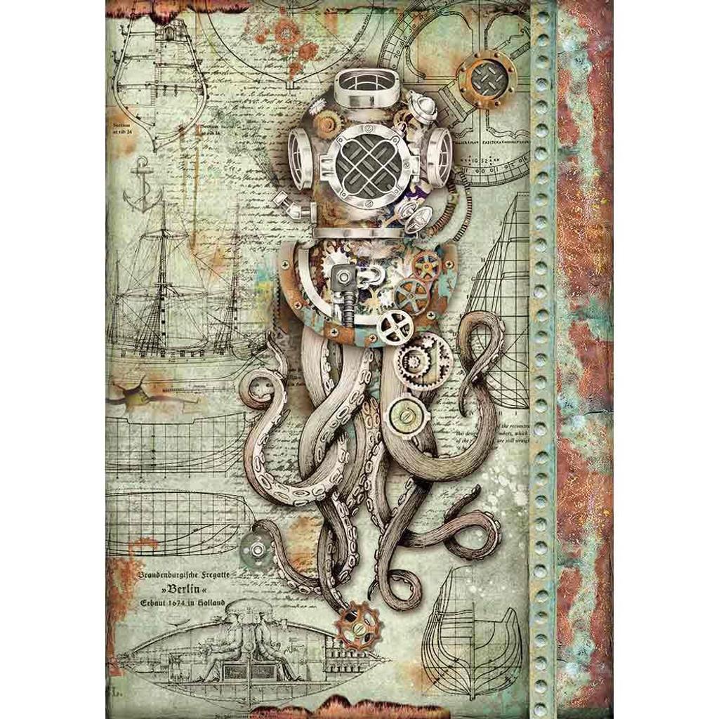Stamperia - Decoupage Rice Paper 8.25 x 11.5 - Sea World - Octopus (DFSA4435)