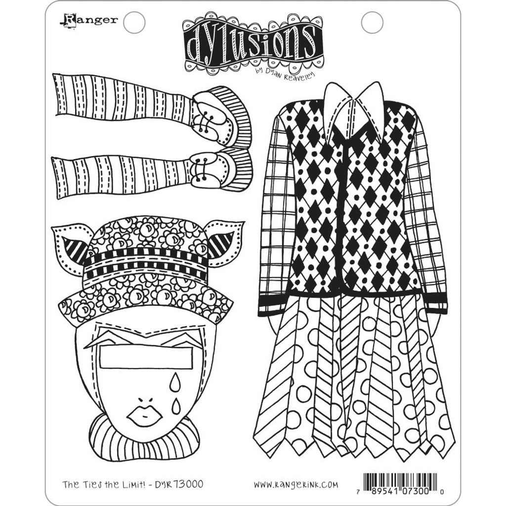 """Dyan Reaveley Dylusions Cling Stamp 8.5""""X7"""" - The Ties The Limit! (DYR 73000)"""