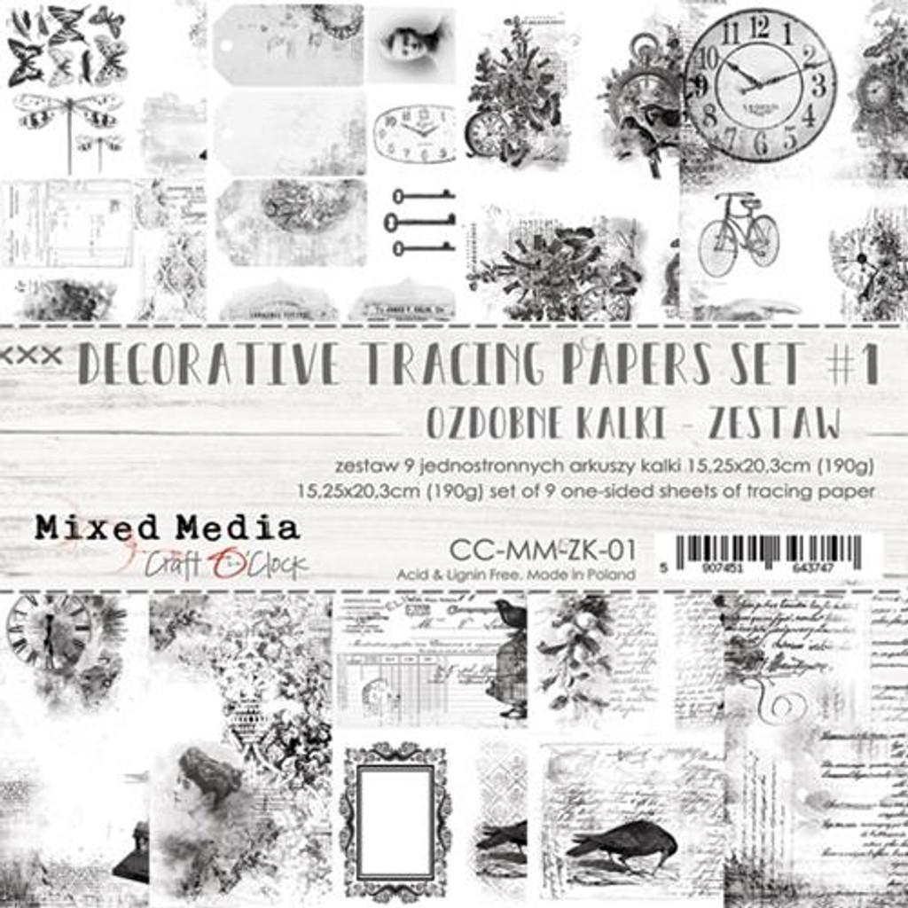 Craft O Clock - Vellum Decorative Tracing Papers Set 9/pkg - Mixed Media (CC-MM-ZK-01)