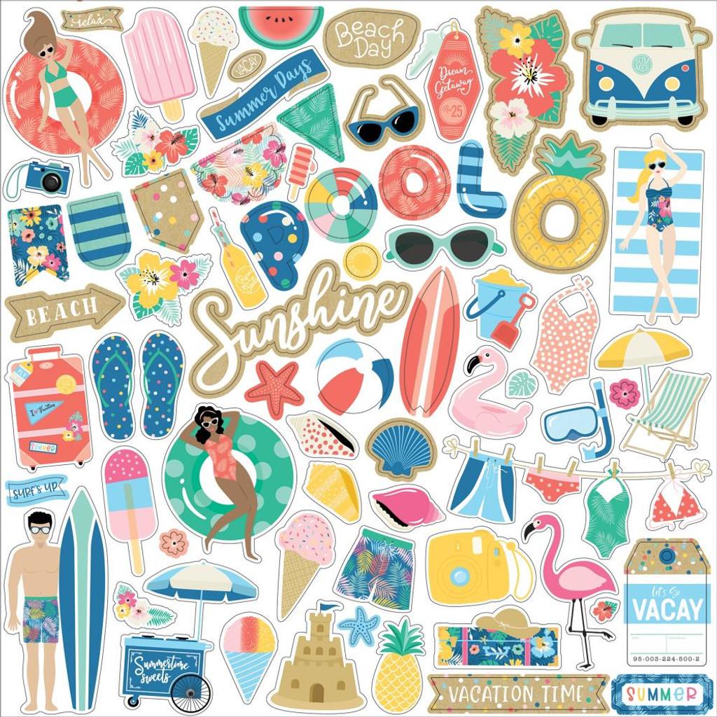 Echo Park - Cardstock Sticker Sheet 12x12 - Dive Into Summer (IS210014)