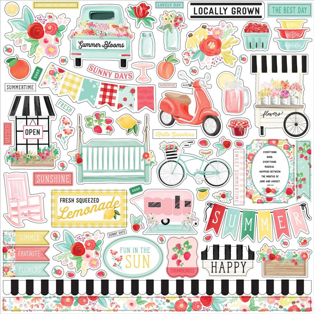 Carta Bella- Cardstock Sticker Sheet 12x12 - Summer Market (UM115014)