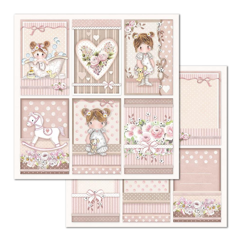 Stamperia - Double Sided Cardstock 12 x 12 - Little Girl - Frames (SBB679)