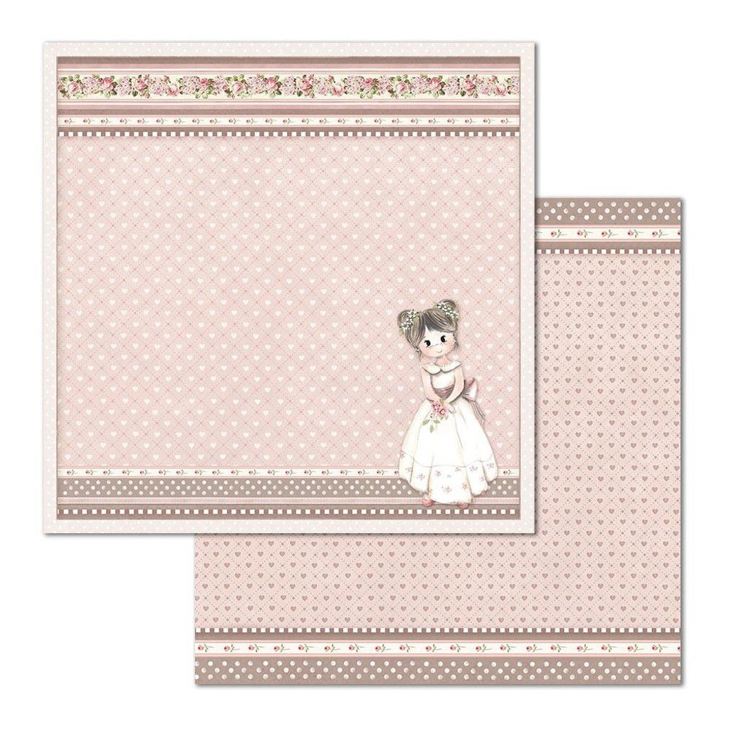 Stamperia - Double Sided Cardstock 12 x 12 - Little Girl - Little Hearts (SBB682)