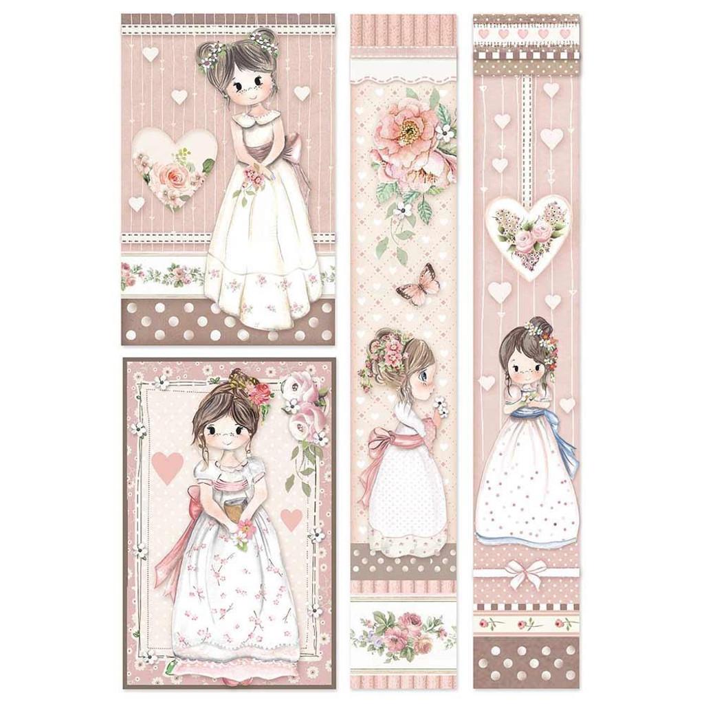 Stamperia - Decopague Rice Paper Sheet A4- Little Girl - Frames (DFSA4452)