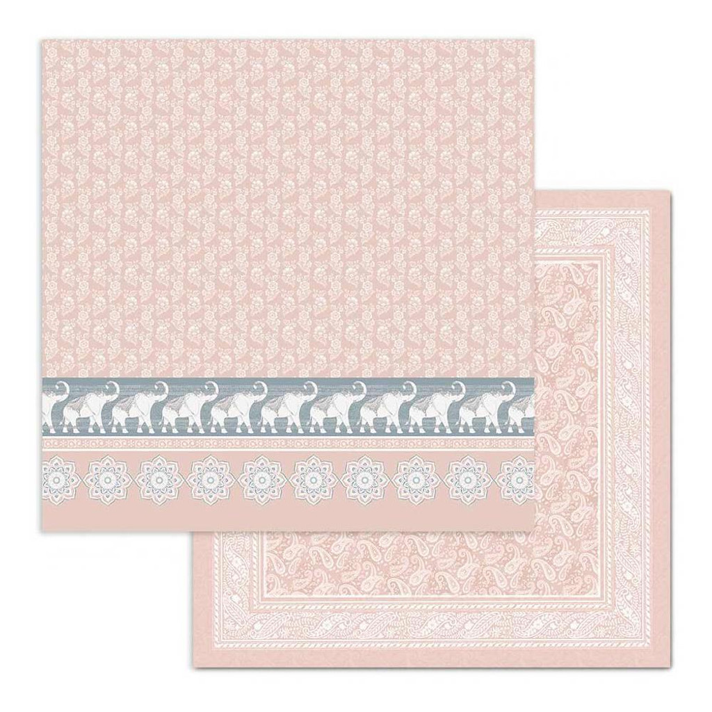 Stamperia - Double Sided Cardstock 12x12 - 26 Secrets of India - Elephants On Pink (SBB687)