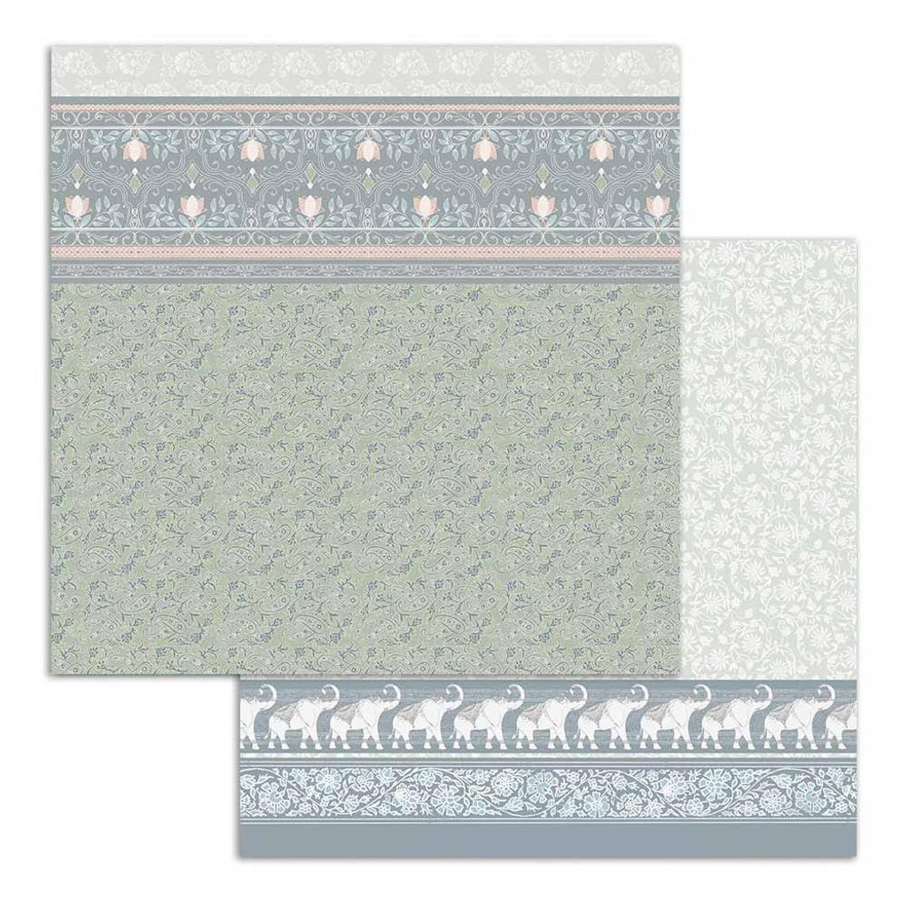 Stamperia - Double Sided Cardstock 12x12 - 26 Secrets of India - Elephants On Light Blue (SBB688)