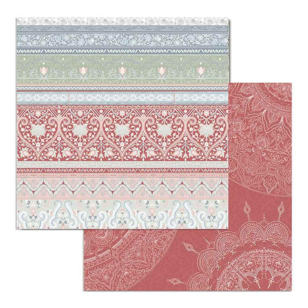 Stamperia - Double Sided Cardstock 12x12 - 26 Secrets of India - Striped Texture (SBB690)