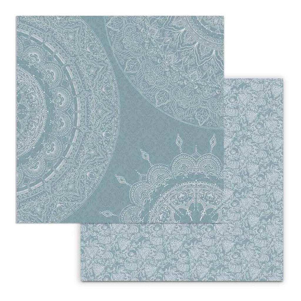 Stamperia - Double Sided Cardstock 12x12 - 26 Secrets of India - Mandala Sections on Light Blue (SBB692)