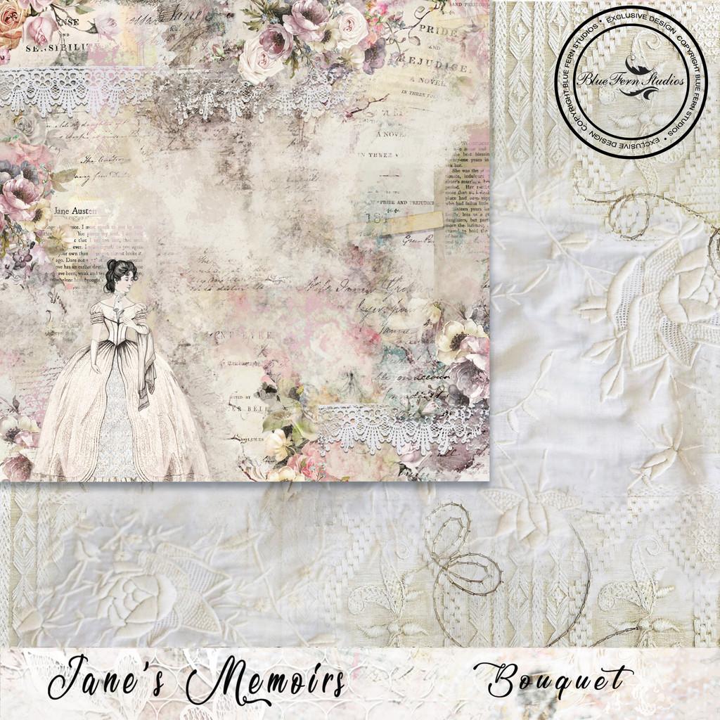 Blue Fern Studios - Jane's Memoirs - 12x12 dbl sided paper - Bouquet (700475)