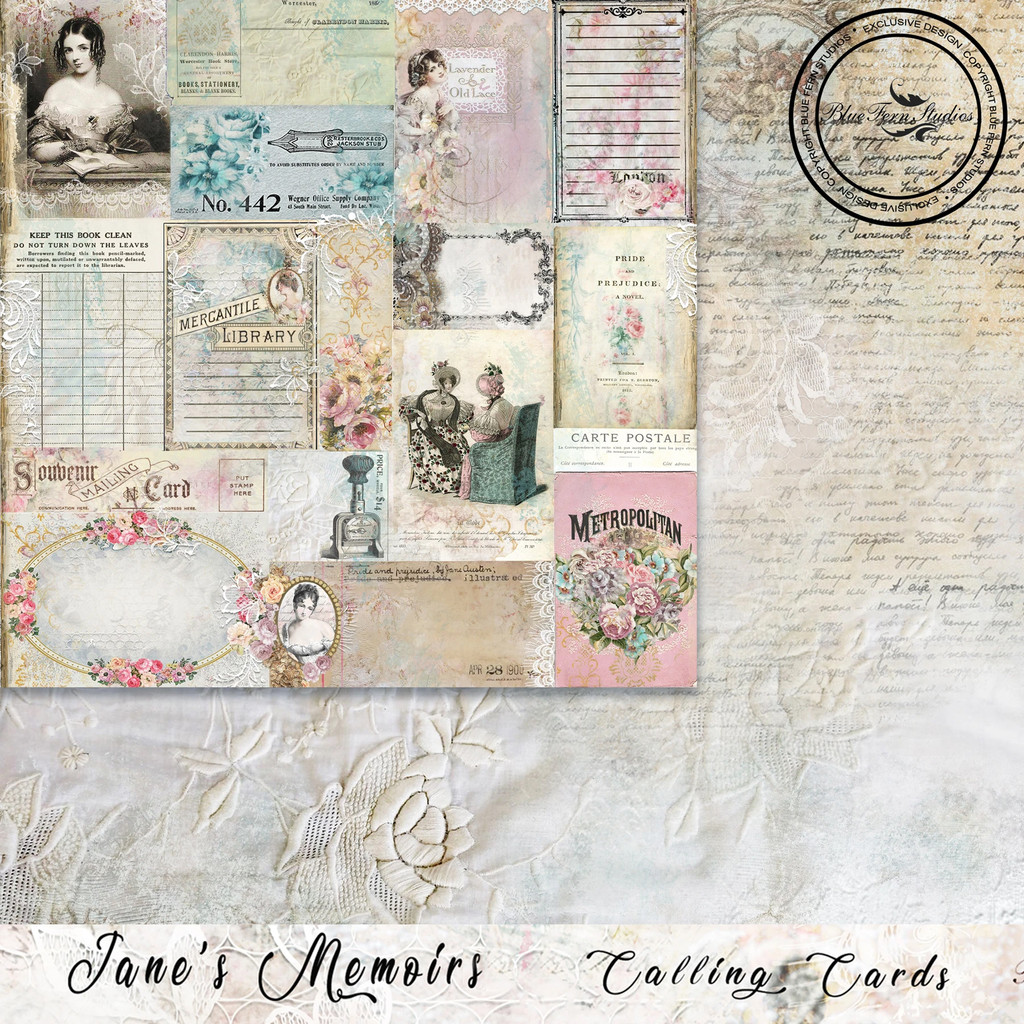 Blue Fern Studios - Jane's Memoirs - 12x12 dbl sided paper - Calling Cards (701373)
