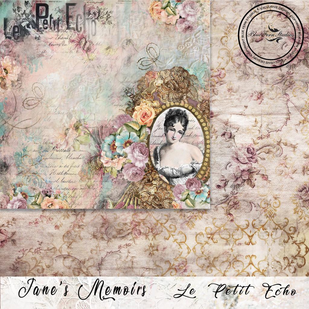 Blue Fern Studios - Jane's Memoirs - 12x12 dbl sided paper - Le Petit Echo (700772)