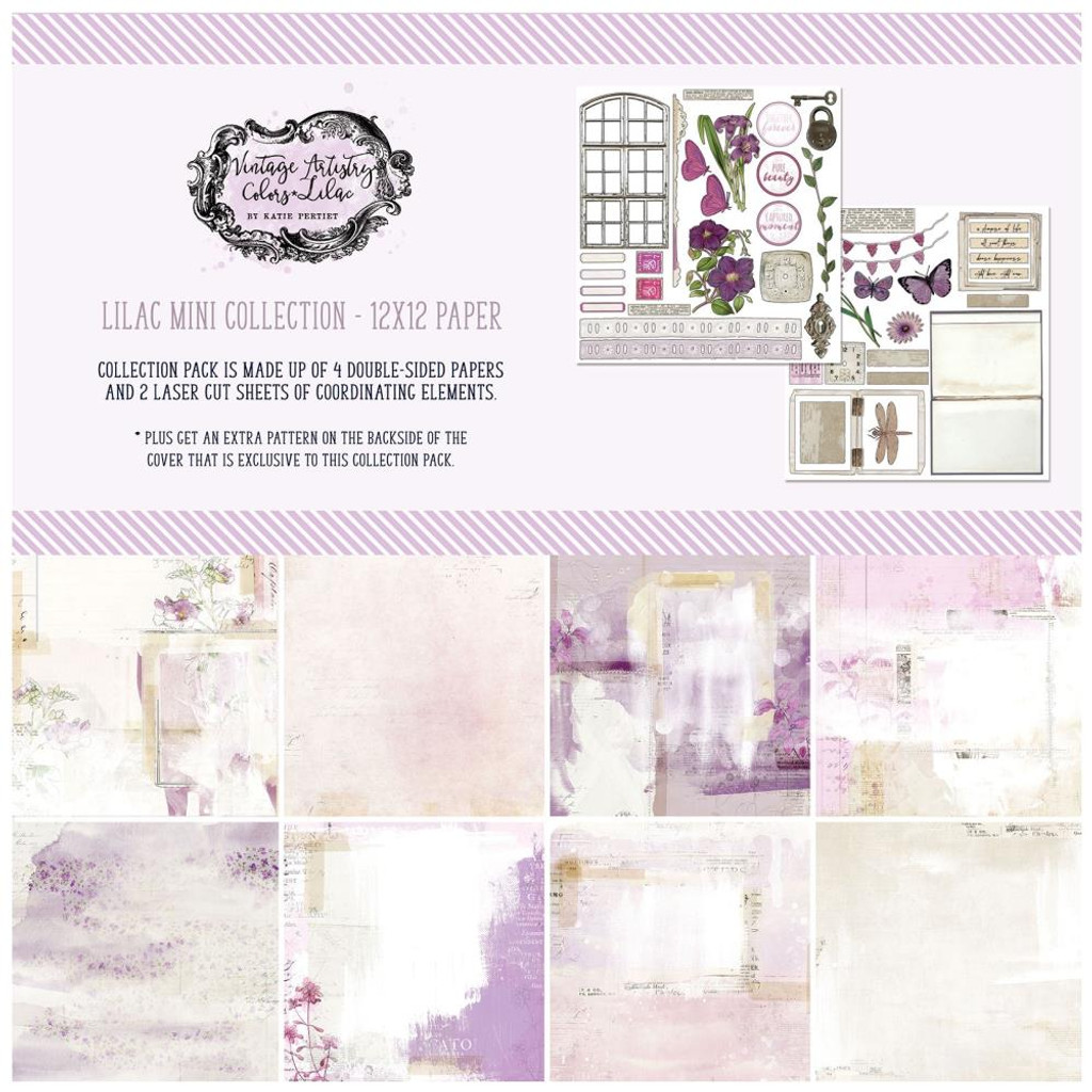 49 and Market - Scrapbooking Paper Pack 12x12 - Vintage Artistry - Lilac (VAC32693)