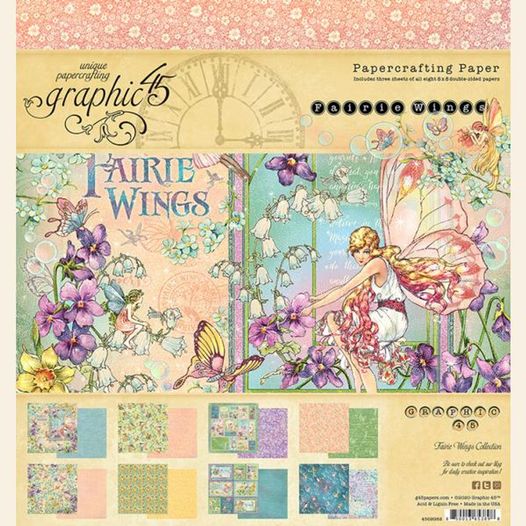 """Graphic 45 - Double-Sided Paper Pad 8""""X8"""" 24/Pkg - Fairie Wings (G4502082)"""