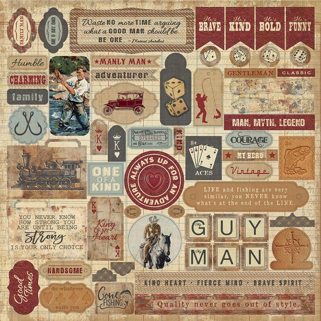 Authentique - Sticker Element Sheet 12x12 - Manly (MAN-009 )